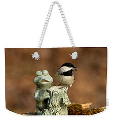 Black-capped Chickadee And Frog Weekender Tote Bag