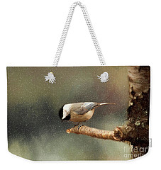 Weekender Tote Bag featuring the photograph Black Capped Chickadee by Darren Fisher