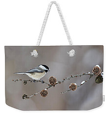 Weekender Tote Bag featuring the photograph Black-capped Chickadee by Mircea Costina Photography