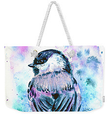 Weekender Tote Bag featuring the painting Black-capped Chickadee by Zaira Dzhaubaeva