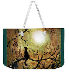 Black Cat And Full Moon Weekender Tote Bag by Laura Iverson