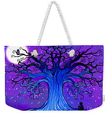 Weekender Tote Bag featuring the drawing Black Cat And Night Owl by Nick Gustafson