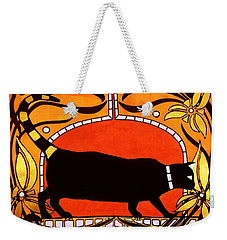 Weekender Tote Bag featuring the painting Black Cat With Floral Motif Of Art Nouveau By Dora Hathazi Mendes by Dora Hathazi Mendes
