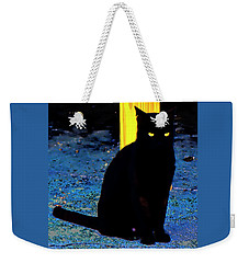 Black Cat Yellow Eyes Weekender Tote Bag