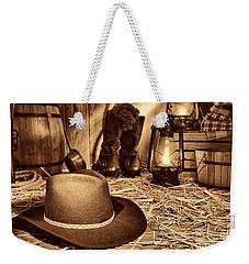 Black Cowboy Hat In An Old Barn Weekender Tote Bag