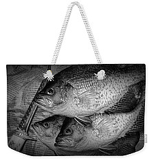 Black Crappie Panfish With Fish Filet Knife In Black And White Weekender Tote Bag