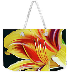 Weekender Tote Bag featuring the painting Black-eyed Susan Daylily I by Patricia Griffin Brett