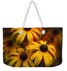 Weekender Tote Bag featuring the painting Black Eyed Susans - Vibrant Flowers by Karen Whitworth