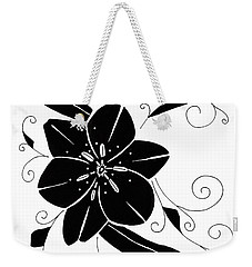 Black Flower Illustration Weekender Tote Bag