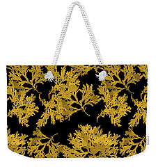 Weekender Tote Bag featuring the mixed media Black Gold Leaf Pattern by Christina Rollo