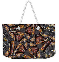 Weekender Tote Bag featuring the photograph Black Granite Star Kaleido by Peter J Sucy