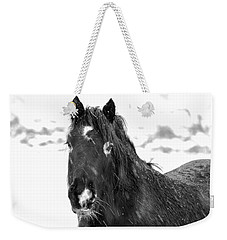 Black Horse Staring In The Snow Black And White Weekender Tote Bag