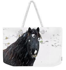 Black Horse Staring In The Snow Weekender Tote Bag