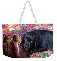 Black Lab Puppy Weekender Tote Bag by Robin Regan