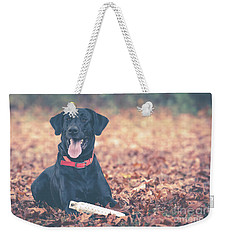 Black Labrador In The Fall Leaves Weekender Tote Bag