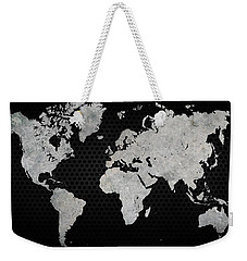 Weekender Tote Bag featuring the digital art Black Metal Industrial World Map by Douglas Pittman