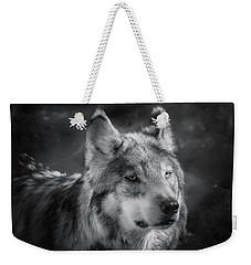 Black N White Wolf Weekender Tote Bag by Elaine Malott