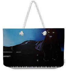 Black Panther And His Piano Weekender Tote Bag by Manuel Sanchez