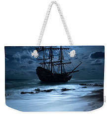Black Pearl Pirate Ship Landing Under Full Moon Weekender Tote Bag by Justin Kelefas