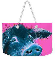 Black Pig Painting On Pink Background Weekender Tote Bag