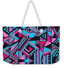 Black Pink Blue Geometric Design Weekender Tote Bag by Gabriella Weninger - David