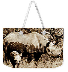 Black Rhino And Youngster Weekender Tote Bag