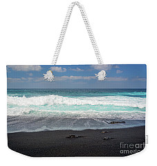 Black Sand Beach Weekender Tote Bag by Delphimages Photo Creations