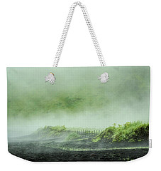 Weekender Tote Bag featuring the photograph Black Sand Beach In The Mist by Joan Davis