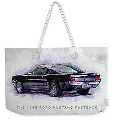 Black Stallion 1965 Ford Mustang Fastback Weekender Tote Bag by Gary Bodnar