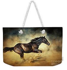 Black Stallion Horse Galloping Like A Devil Weekender Tote Bag