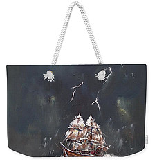 Weekender Tote Bag featuring the painting Black Storm by Miroslaw  Chelchowski