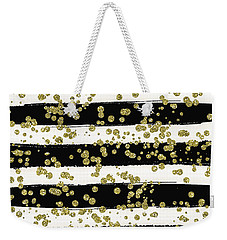 Black Stripes Gold Confetti Weekender Tote Bag
