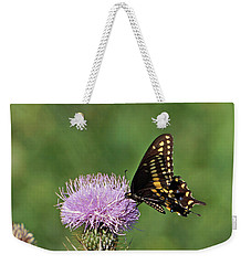 Weekender Tote Bag featuring the photograph Black Swallowtail Butterfly by Sandy Keeton