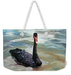 Weekender Tote Bag featuring the painting Black Swan by Roseann Gilmore