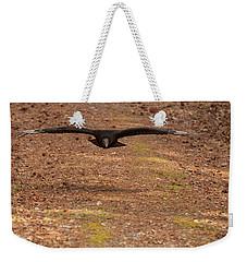 Weekender Tote Bag featuring the digital art Black Vulture In Flight by Chris Flees
