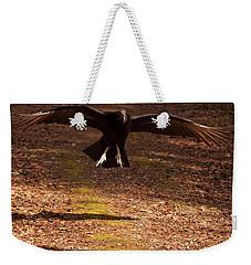 Weekender Tote Bag featuring the digital art Black Vulture Landing by Chris Flees
