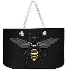 Black Wasp With Gold Accents On Black  Weekender Tote Bag by Serge Averbukh