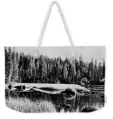 Black White Lake Weekender Tote Bag
