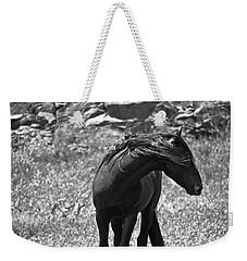 Black Wild Mustang Weekender Tote Bag