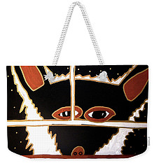 Weekender Tote Bag featuring the mixed media Black Wolf by Clarity Artists
