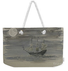 Weekender Tote Bag featuring the painting Blackbeard's Ship by Stacy C Bottoms