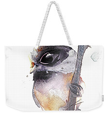 Weekender Tote Bag featuring the painting Blackcapped Chickadee by Dawn Derman
