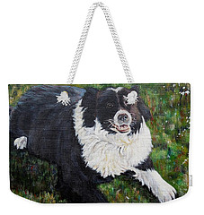 Weekender Tote Bag featuring the painting Blackie by Marilyn  McNish