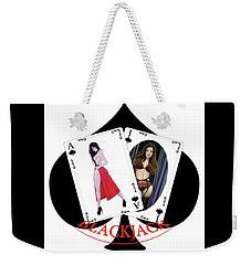 Weekender Tote Bag featuring the digital art Black Jack Spades by Joseph Ogle
