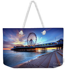 Weekender Tote Bag featuring the photograph Blackpool Pier Sunset by Yhun Suarez