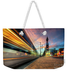 Weekender Tote Bag featuring the photograph Blackpool Tram Light Trail by Yhun Suarez