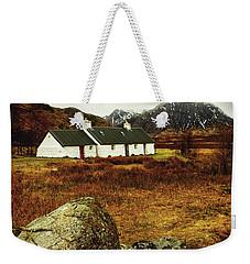 Weekender Tote Bag featuring the photograph Blackrock Cottage Glencoe by Jacqi Elmslie