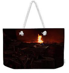 Weekender Tote Bag featuring the digital art Blacksmith Shop by Chris Flees