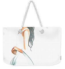 Weekender Tote Bag featuring the drawing Blanca by MB Dallocchio