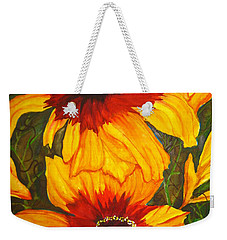 Weekender Tote Bag featuring the painting Blanket Flower by Lil Taylor